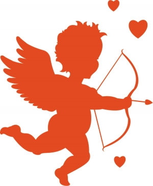 Where's cupid pointing his arrow?